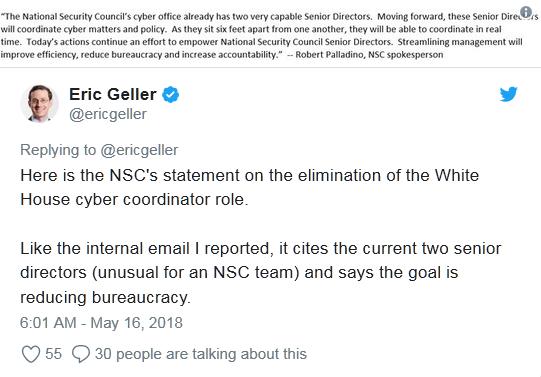 外媒:白宫取消网络安全协调员职位