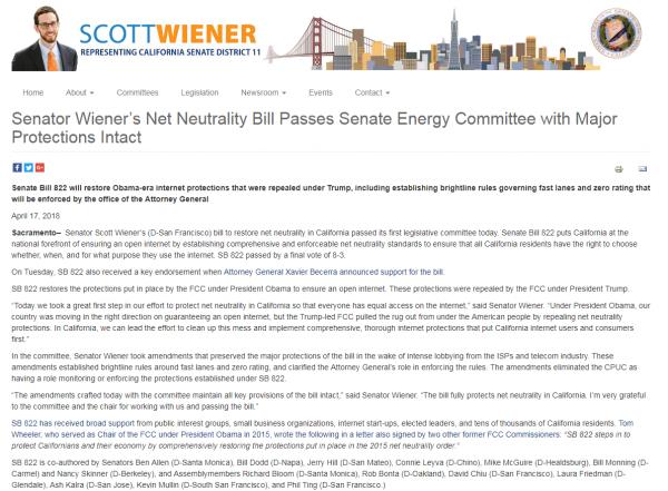 加利福尼亚州参议院投票通过法案 以恢复网络中立性原则