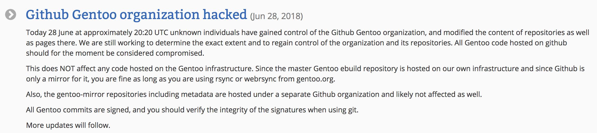 密码的锅,Gentoo 发布 GitHub 仓库被入侵事件报告