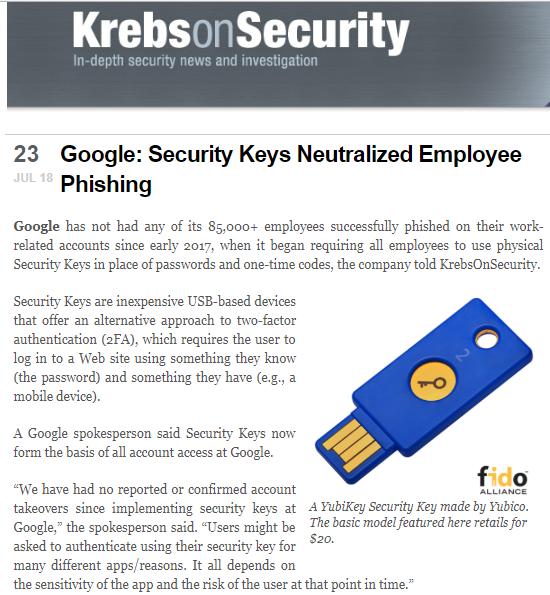 报道称实体安全密钥是谷歌员工避免网络钓鱼的秘密