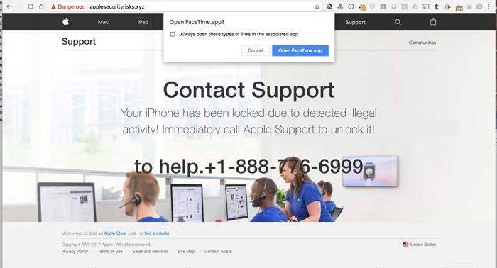 恶意网站忽悠 iOS 用户拨打假冒的 Apple Care 客服电话