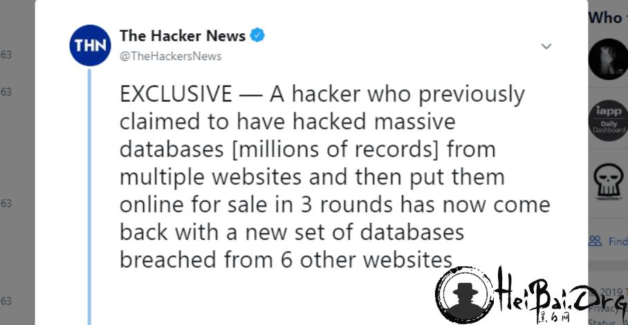 黑客在暗网上出售第四批数据 涉及 6 个网站 2600 万新账户