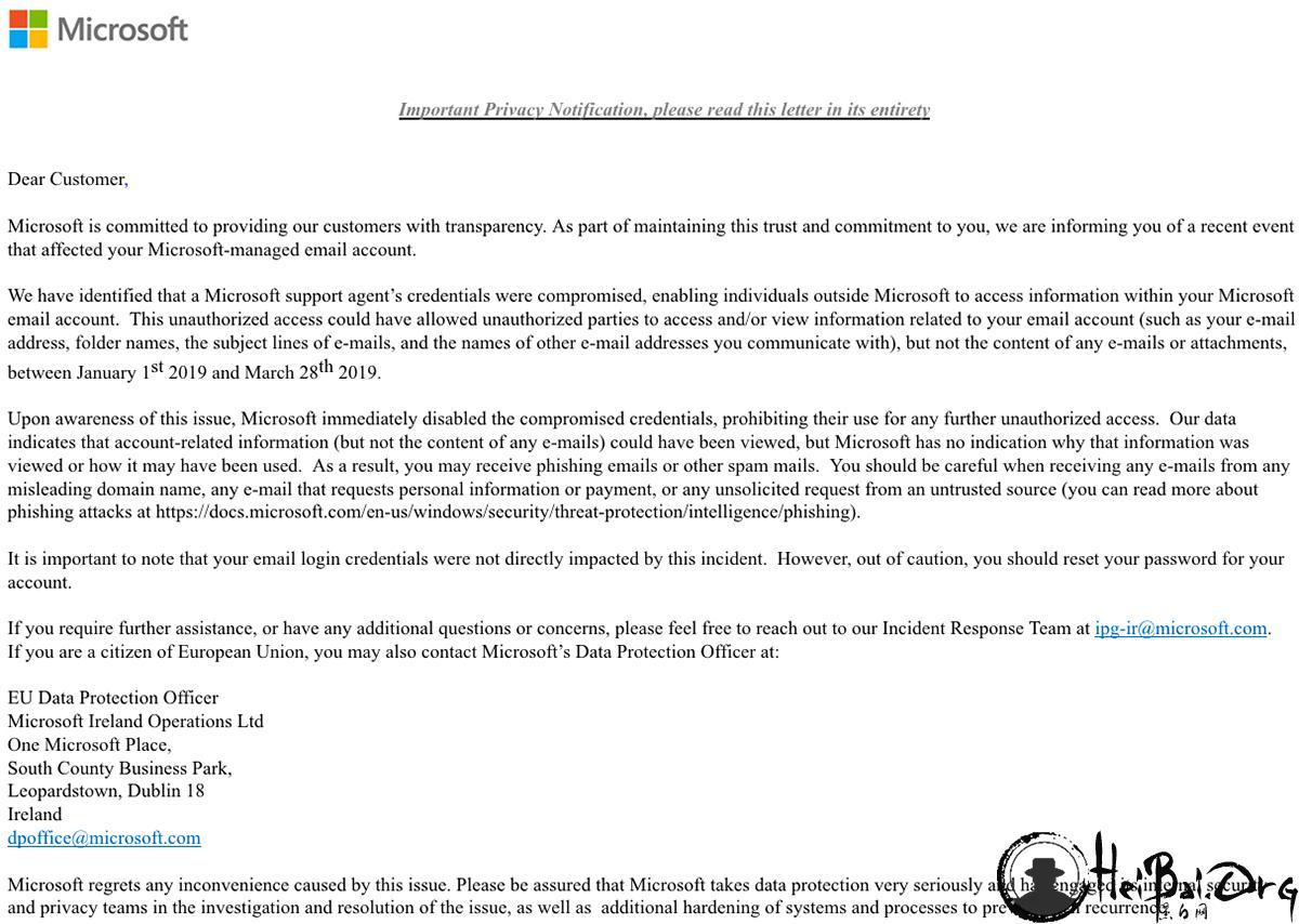微软确认有黑客入侵了一些 Outlook.com 帐户 时间长达数月