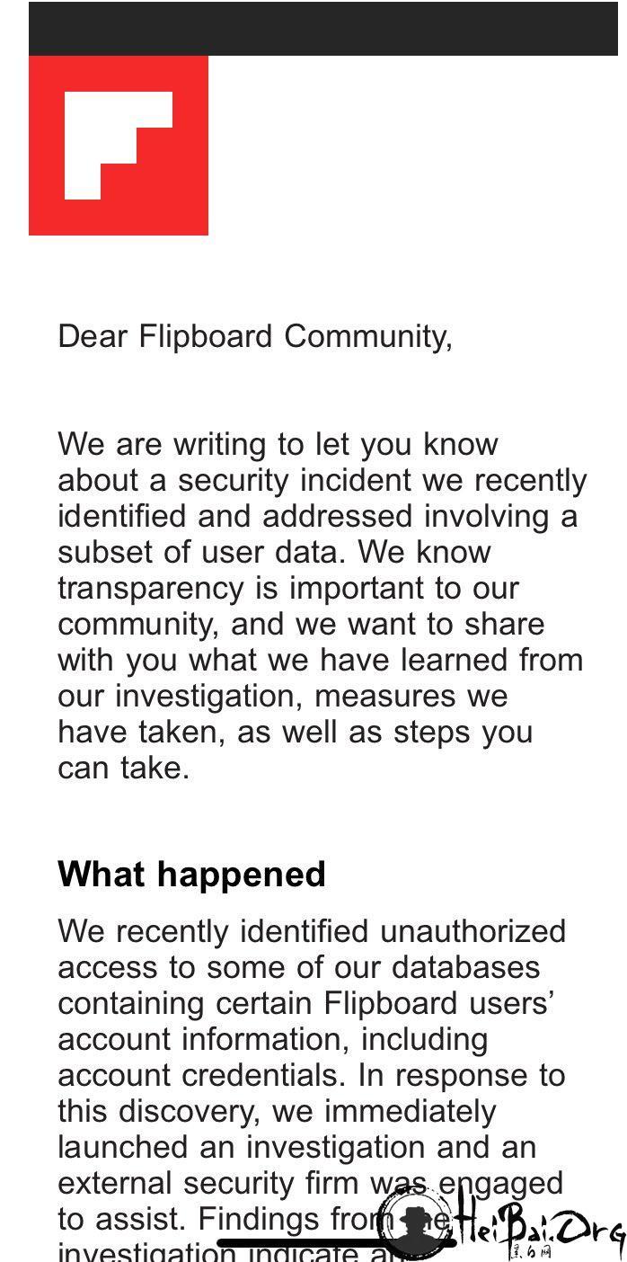 Flipboard 发安全通告:内部系统遭黑客攻击 推荐所有用户重置密码