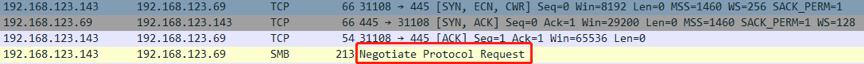 Exchange向Attacker发送SMB协商请求流量
