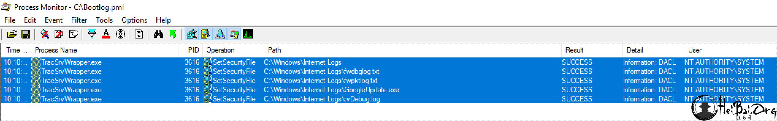 显示TracSrvWrapper.exe的ProcMon对C:\\ Windows \\ Internet日志中的所有文件执行SetSecurityFile